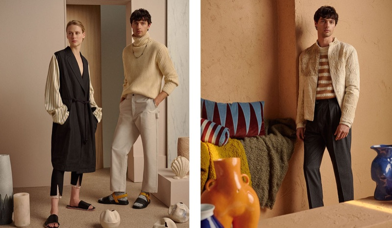 Left, Hannes Gobeyn poses with Sofie Hemmet. Embracing the look of an artist, Hannes wears an Arje sweater, Deveaux trousers, Marni sandals, and a M Cohen necklace. Right, Hannes sports a By Walid jacket, Acne Studios sweater, and Officine Generale trousers.