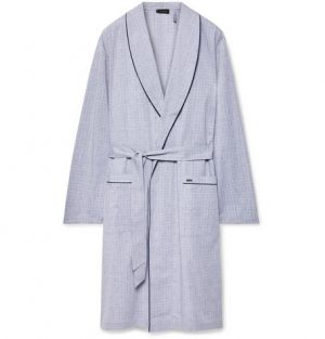 Hanro - Theo Checked Mercerised Cotton Robe - Men - Gray