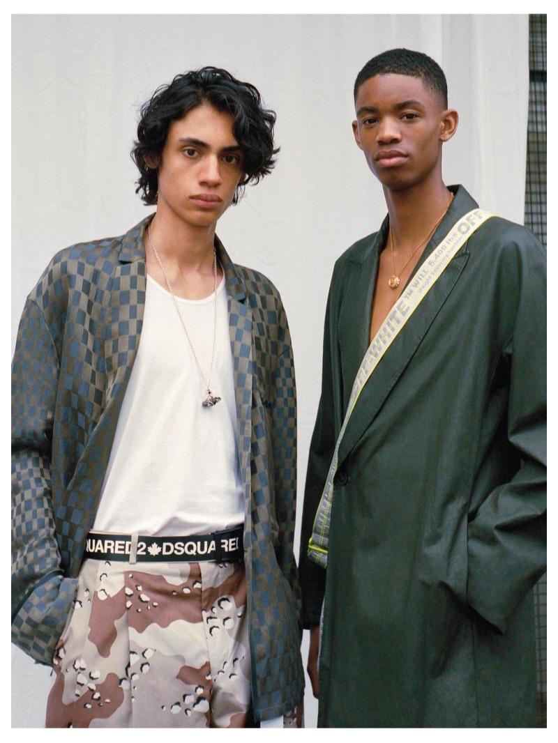 From left, Benjamin wears HAIDER ACKERMANN shirt £1,215; HARRODS OF LONDON vest £34.95; ETUDES trousers £310; DSQUARED2 belt £220; VIVIENNE WESTWOOD necklace £175; Montell wears HAIDER ACKERMANN coat £1,830; VERSACE necklace £550; OFF-WHITE belt (worn across body) £150