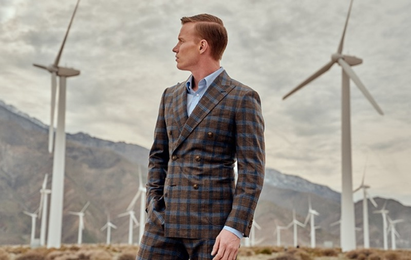 INDOCHINO delivers a sleek plaid double-breasted suit.