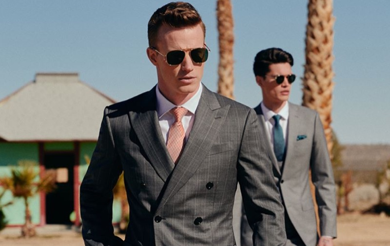 Men's tailored grey suits from INDOCHINO