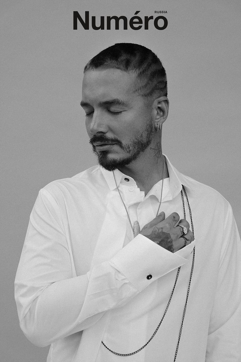J Balvin connects with Numéro Russia for a new photo shoot feature. He wears a Hardcore Fashion shirt.
