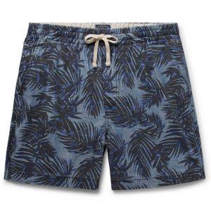 J.Crew - Printed Indigo-Dyed Cotton-Chambray Drawstring Shorts - Men - Indigo