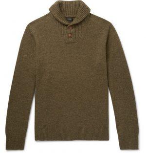 J.Crew - Shawl-Collar Merino Wool-Blend Sweater - Men - Green