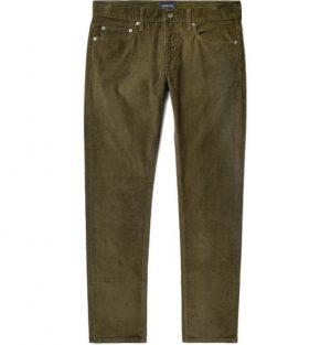 J.Crew - Slim-Fit Stretch-Cotton Corduroy Trousers - Men - Army green