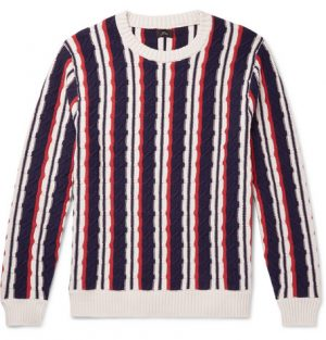J.Crew - Striped Cable-Knit Cotton Sweater - Men - Navy
