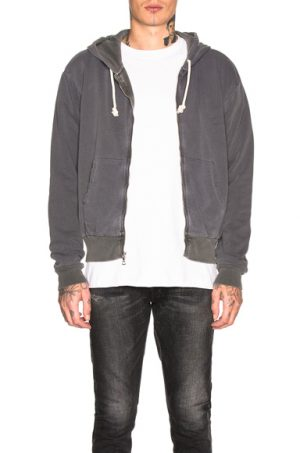 JOHN ELLIOTT Thermal Lined Full Zip Hoodie in Black. - size XL (also in L,M)