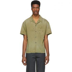 John Elliott Green Petrol Bowling Short Sleeve Shirt