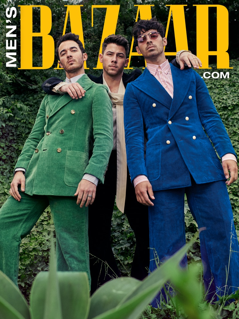 The Jonas Brothers pose for a special digital cover for Harper's Bazaar.