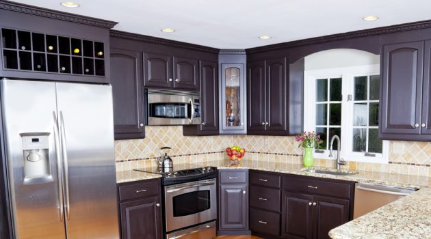 Kitchen Dark Wood Cabinets