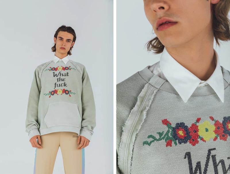 Going casual, Michele Lanotte wears a Maison Margiela oversized sweatshirt $514, AMI logo shirt $240, and Drole de Monsieur track pants $317.