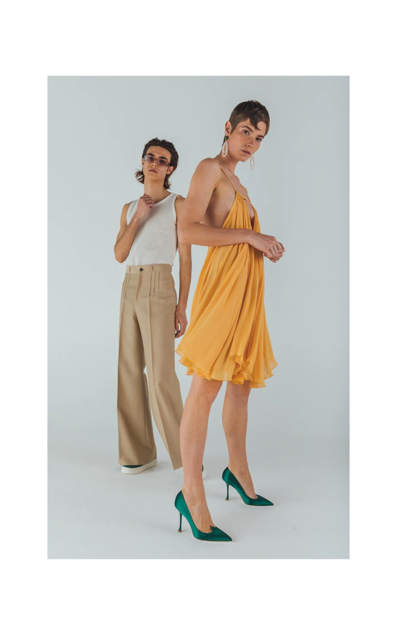 Pictured left, Michele Lanotte wears Andy Wolf sunglasses $319, a Jacquemus knit tank $133, Maison Margiela pants $696, and green Salvatore Ferragamo suede sneakers $595.