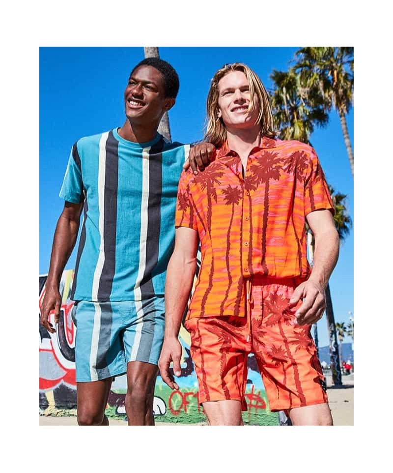 All smiles, Hunter Bach and Hamid Onifade sport colorful summer fashions from Macy's.