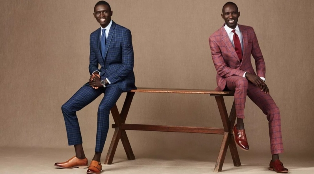 Fernando and Armando Cabral don sharp suits from Macy's. Pictured left, Fernando wears a Bar III blue plaid suit. Armando sports a Tommy Hilfiger windowpane suit.