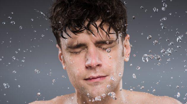 Man Washing Face Water