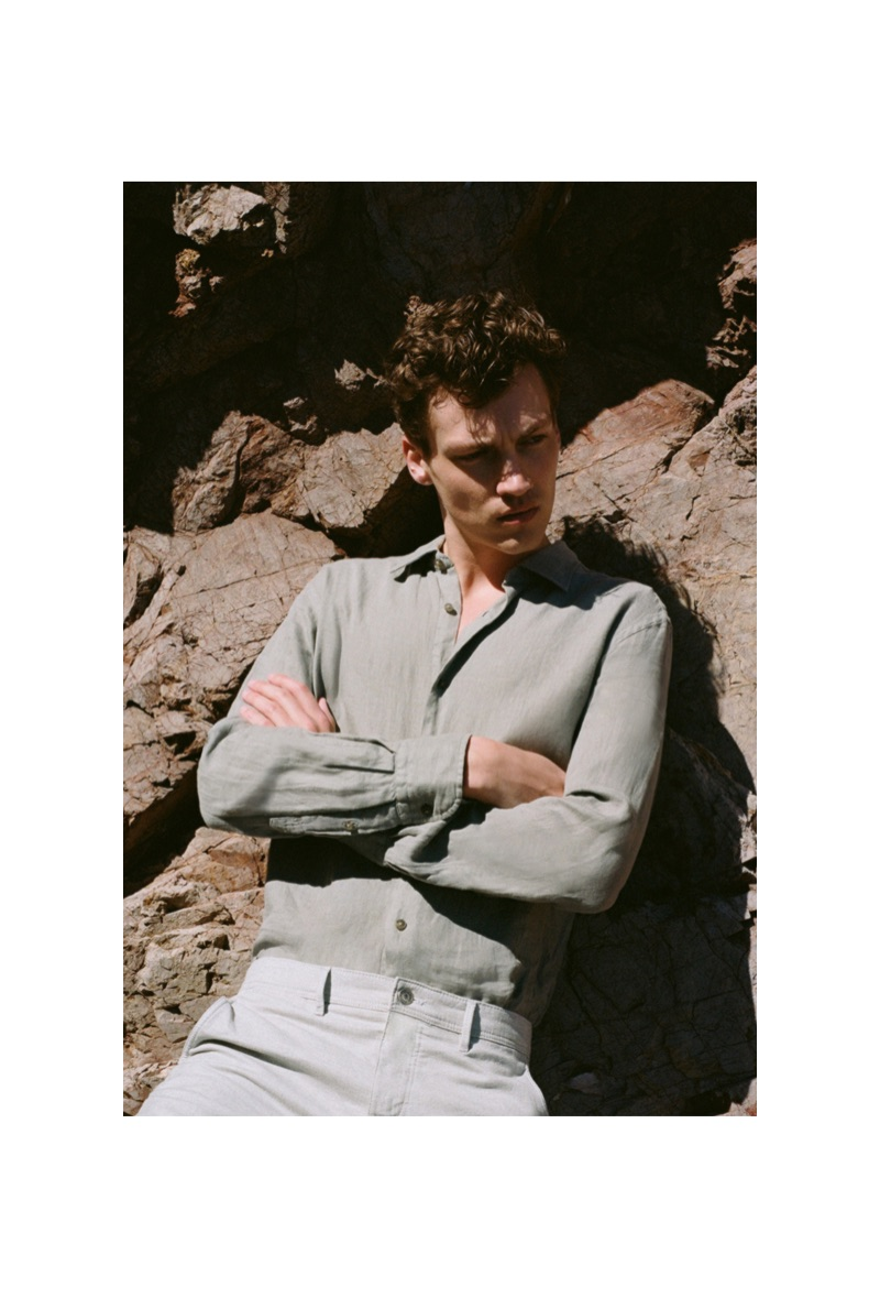 Swann Guerrault wears a look from Massimo Dutti's sustainable collection.