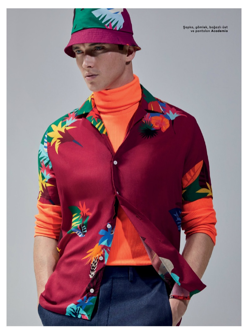 British model Matthew Holt embraces a tropical theme from Academia.