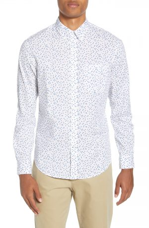 Men's Club Monaco Agave Ditsy Slim Fit Button-Down Sport Shirt