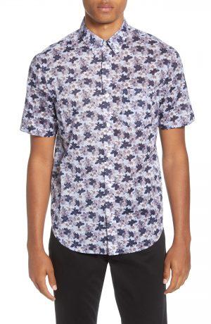 Men's Club Monaco Baja Blossom Regular Fit Short Sleeve Button-Down Sport Shirt