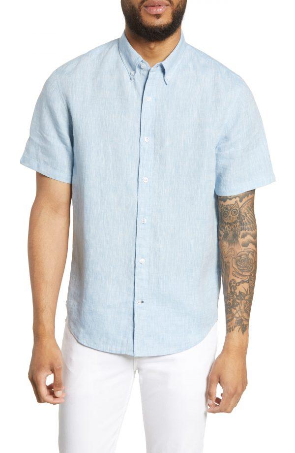Men's Club Monaco Slim Fit Linen Sport Shirt, Size X-Small - Blue