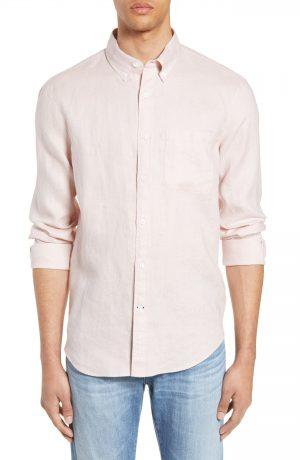 Men's Club Monaco Solid Linen Slim Fit Sport Shirt, Size X-Large - Pink