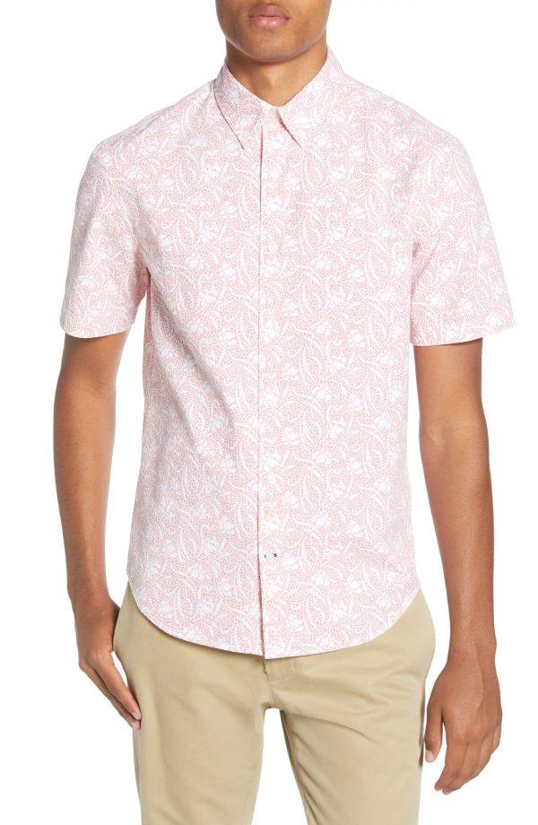 Men's Club Monaco Squiggle Flower Regular Fit Short Sleeve Button-Down Sport Shirt