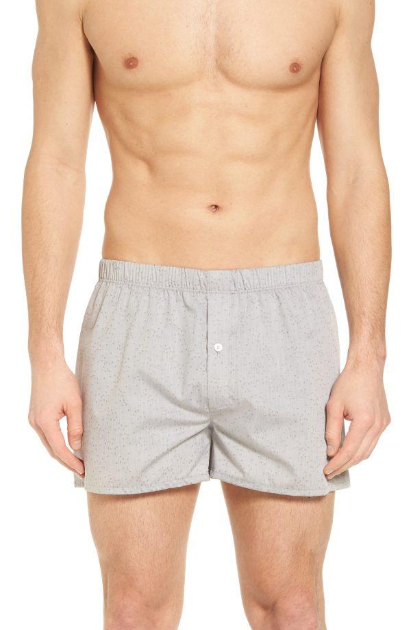 Men's Hanro Fancy Cotton Boxers, Size X-Large - Grey