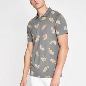 Mens Jack and Jones khaki printed polo shirt