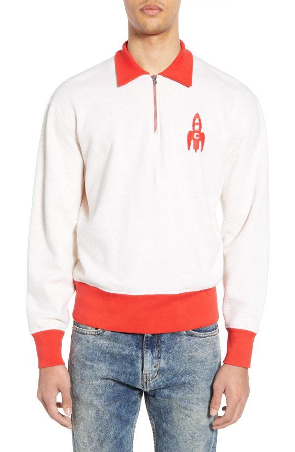 Men's Levi's Vintage Clothing 1950S Quarter Zip Sweatshirt, Size X-Large - Ivory
