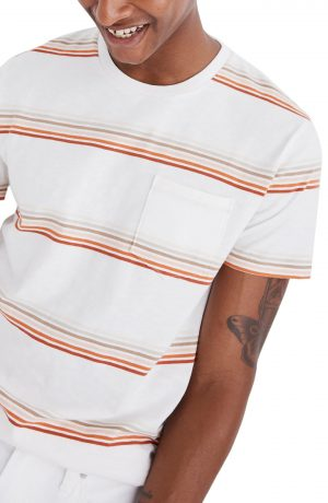 Men's Madewell Allday Easley Stripe Pocket T-Shirt, Size Small - Beige