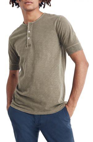Men's Madewell Garment Dye Henley T-Shirt, Size Small - Green