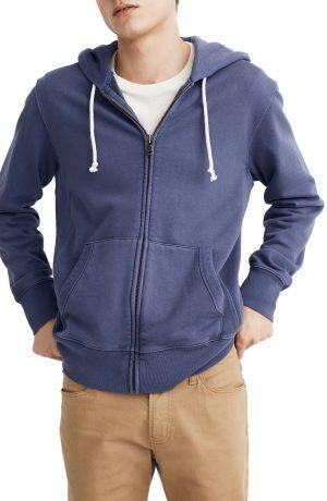 Men's Madewell Garment Dyed Zip Front Hoodie Sweatshirt, Size X-Large - Purple