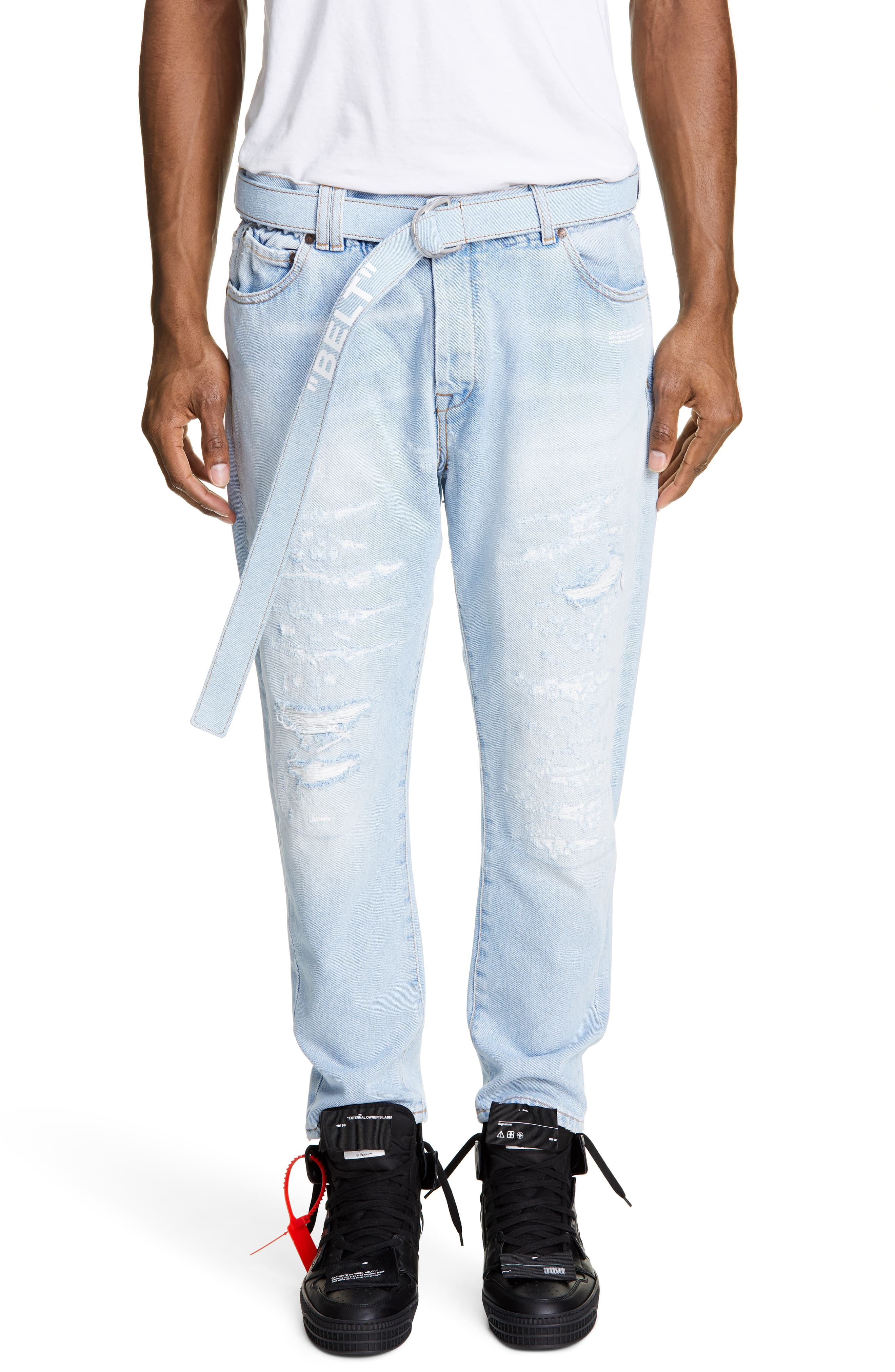 a875c147 Men's Off-White Belted Slim Fit Jeans, Size 36 – Blue