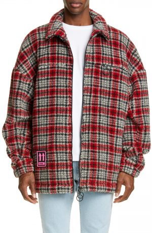 Men's Off-White Longline Plaid Fleece Jacket
