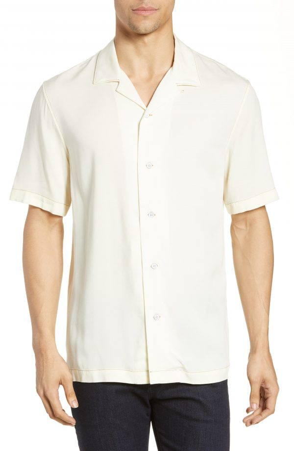 Men's Rag & Bone Avery Slim Fit Short Sleeve Button-Up Camp Shirt, Size Small - White