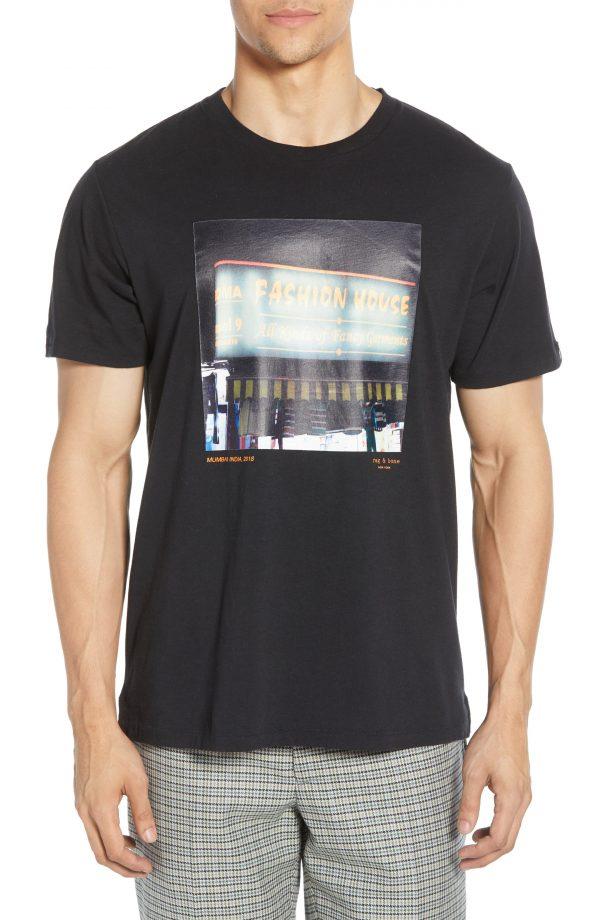 Men's Rag & Bone Fashion House Graphic T-Shirt, Size Large - Black