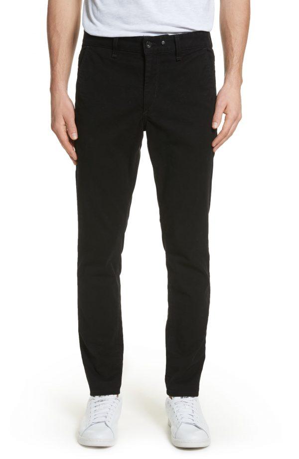 Men's Rag & Bone Fit 1 Skinny Fit Chinos, Size 30 - Black