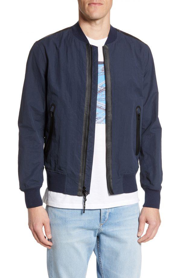 Men's Rag & Bone Nylon Blend Bomber Jacket, Size Small - Blue