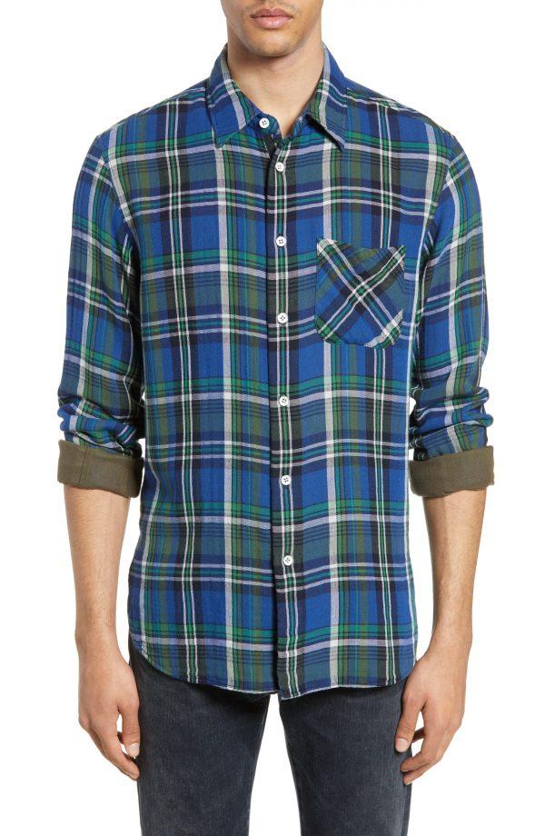 Men's Rag & Bone Plaid Beach Shirt, Size Large - Blue