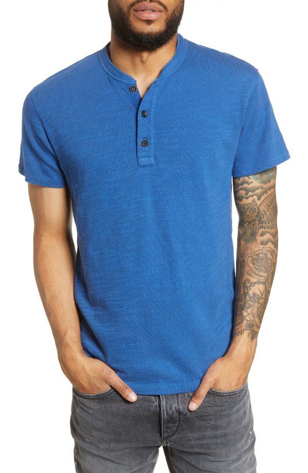 Men's Rag & Bone Slim Fit Henley, Size Medium - Blue
