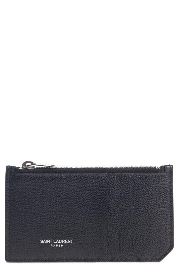 Men's Saint Laurent Pebble Grain Leather Zip Wallet - Blue