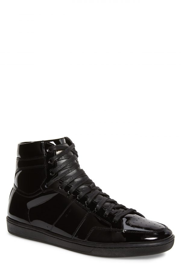Men's Saint Laurent Sl/10H Signature Court Classic High Top Sneaker, Size 6US / 39EU - Black