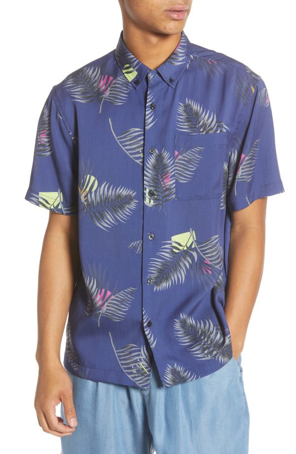 Men's Saturdays Nyc Bruce Peak Palm Print Short Sleeve Button-Down Shirt, Size Small - Blue