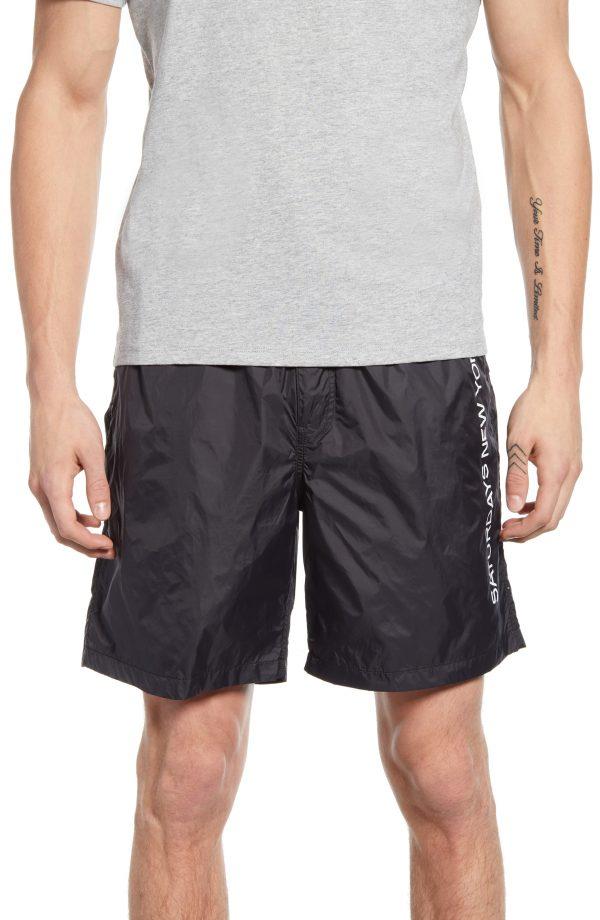 Men's Saturdays Nyc Trent Nylon Shorts, Size Small - Black