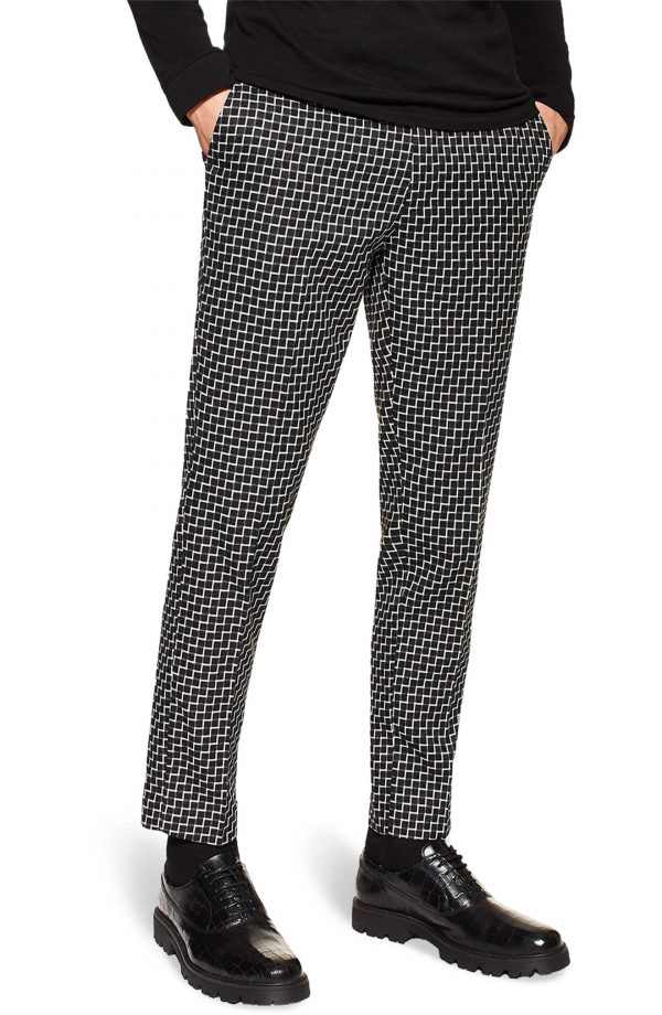 Men's Topman Check Vega Skinny Fit Cropped Trousers, Size 32 x 34 - Black
