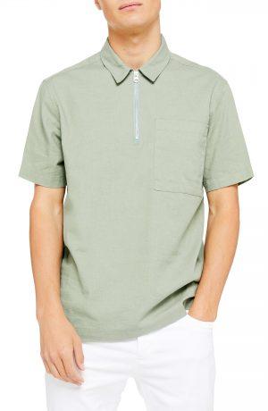 Men's Topman Overhead Short Sleeve Zip Popover Shirt, Size Large - Green
