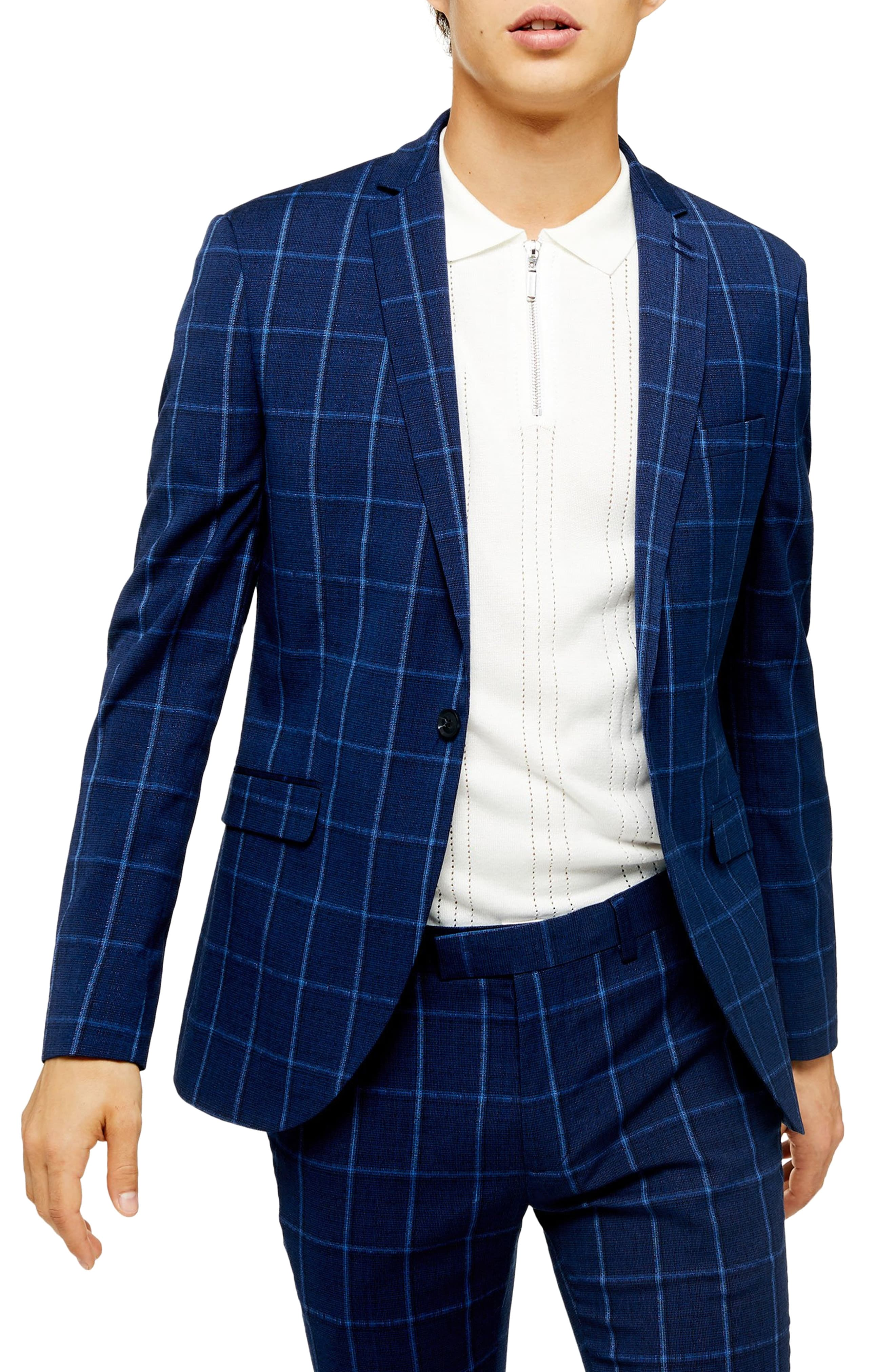 Men's Topman Page Windowpane Check Super Skinny Suit Jacket, Size 34R - Blue