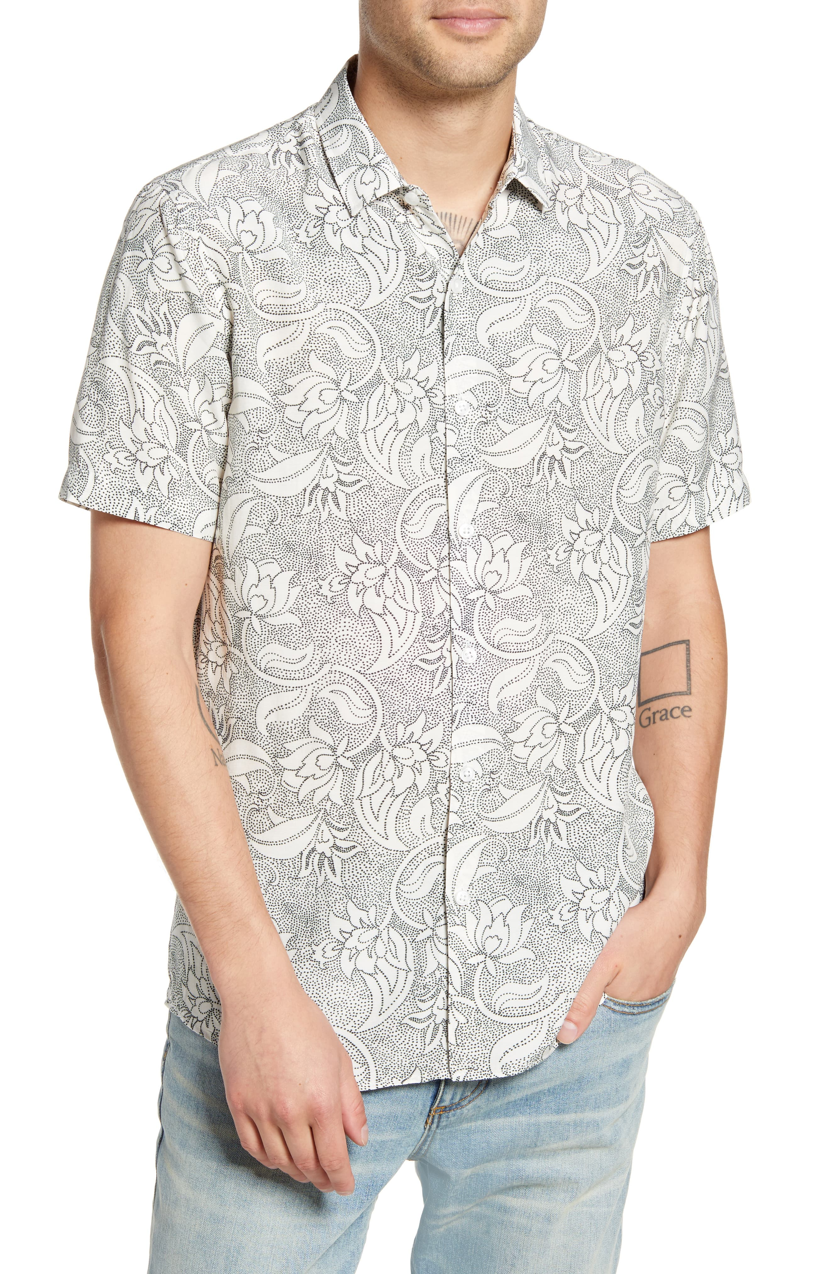 Mens Topman Premium Dot Floral Short Sleeve Button Up Shirt Size Large White