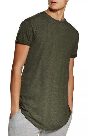 Men's Topman Scotty Longline Slim Fit T-Shirt, Size Small - Green