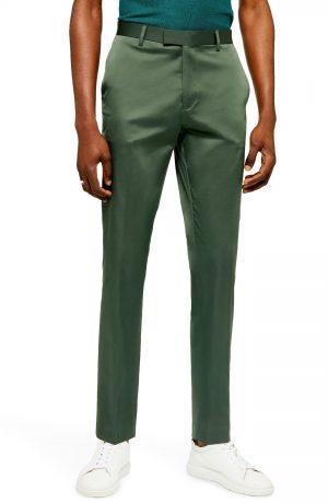 Men's Topman Slim Fit Satin Suit Trousers, Size 38 x 34 - Green
